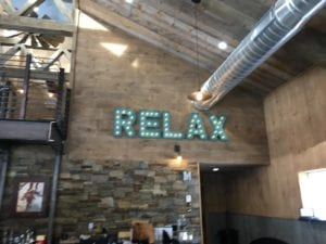 A sign saying Relax
