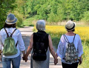Image of Ladies Walking Down a Road