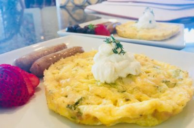 Frittata with a Topping of Whipped Ricotta, Sausage and Strawberry