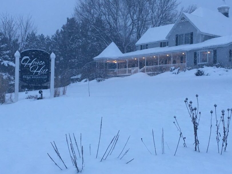 House on the Hill Bed and Breakfast in the snow