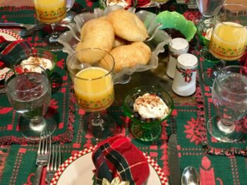 breakfast table setting at Christmastime
