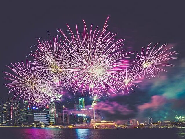 fireworks at night over city