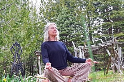 Woman in a sitting yoga pose